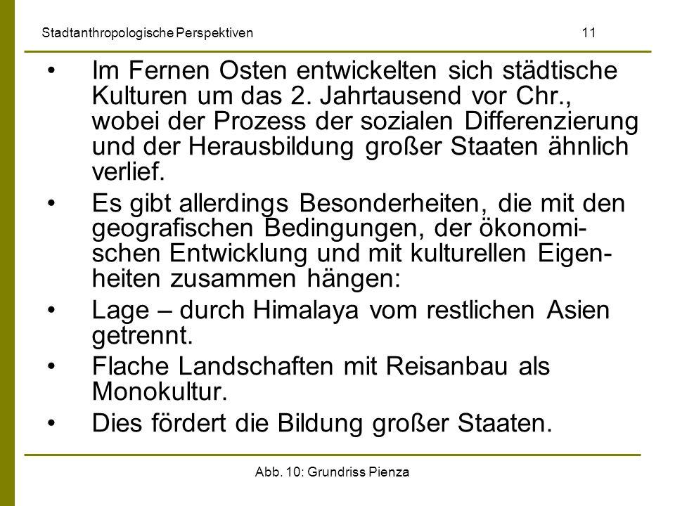 Abb. 10: Grundriss Pienza Stadtanthropologische Perspektiven 11 Im Fernen Osten entwickelten sich städtische Kulturen um das 2. Jahrtausend vor Chr.,