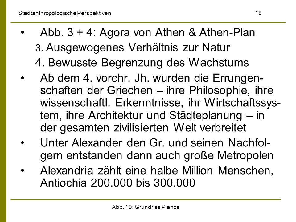 Abb. 10: Grundriss Pienza Stadtanthropologische Perspektiven 18 Abb. 3 + 4: Agora von Athen & Athen-Plan 3. Ausgewogenes Verhältnis zur Natur 4. Bewus