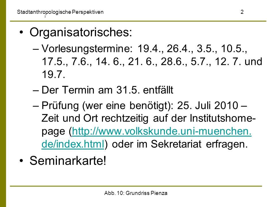 Abb. 10: Grundriss Pienza Stadtanthropologische Perspektiven 2 2 Organisatorisches: –Vorlesungstermine: 19.4., 26.4., 3.5., 10.5., 17.5., 7.6., 14. 6.