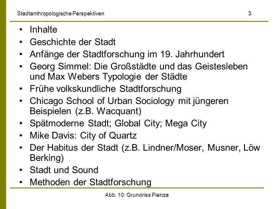 Abb. 10: Grundriss Pienza Stadtanthropologische Perspektiven 3 Inhalte Geschichte der Stadt Anfänge der Stadtforschung im 19. Jahrhundert Georg Simmel