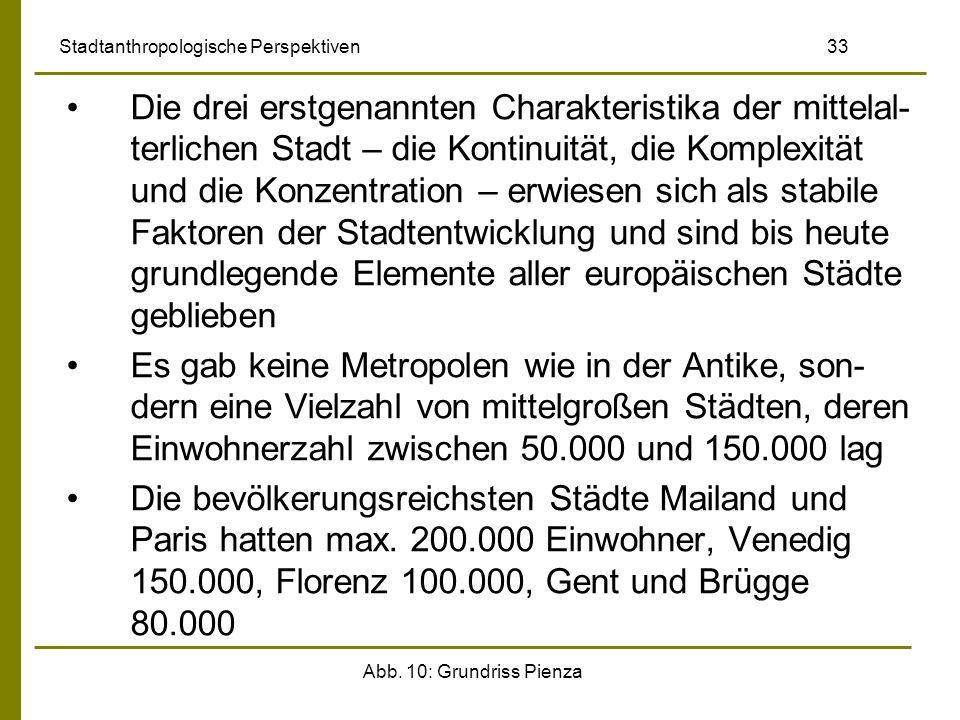 Abb. 10: Grundriss Pienza Stadtanthropologische Perspektiven 33 Die drei erstgenannten Charakteristika der mittelal- terlichen Stadt – die Kontinuität