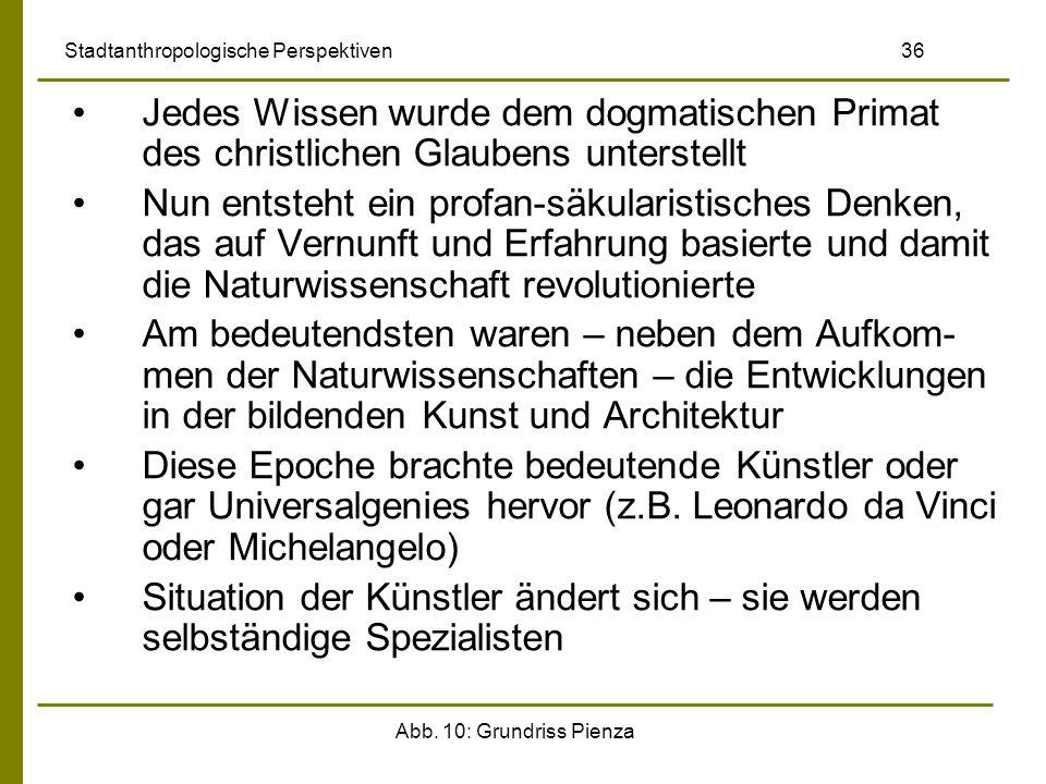 Abb. 10: Grundriss Pienza Stadtanthropologische Perspektiven 36 Jedes Wissen wurde dem dogmatischen Primat des christlichen Glaubens unterstellt Nun e