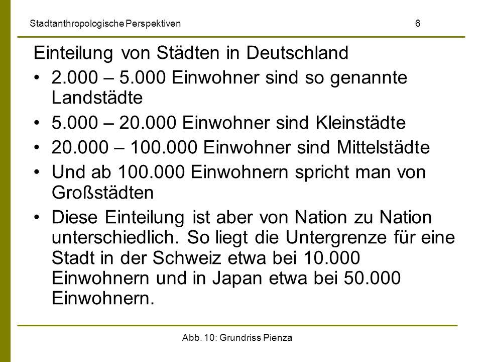 Abb. 10: Grundriss Pienza Stadtanthropologische Perspektiven 6 Einteilung von Städten in Deutschland 2.000 – 5.000 Einwohner sind so genannte Landstäd