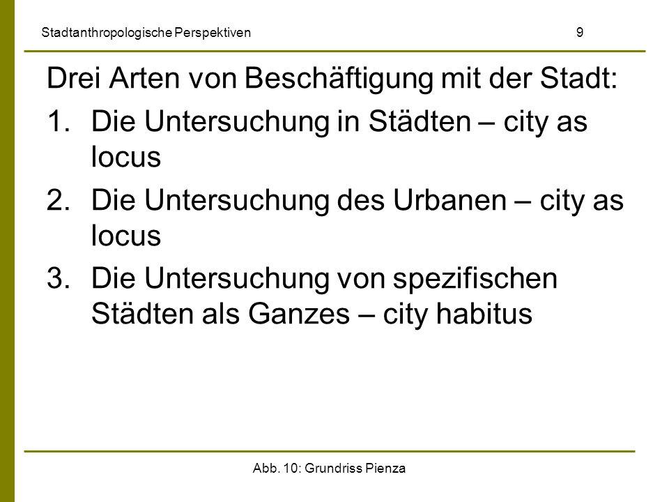 Abb. 10: Grundriss Pienza Stadtanthropologische Perspektiven 9 Drei Arten von Beschäftigung mit der Stadt: 1.Die Untersuchung in Städten – city as loc