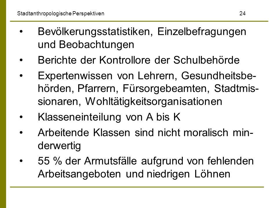 Stadtanthropologische Perspektiven 24 Bevölkerungsstatistiken, Einzelbefragungen und Beobachtungen Berichte der Kontrollore der Schulbehörde Expertenw
