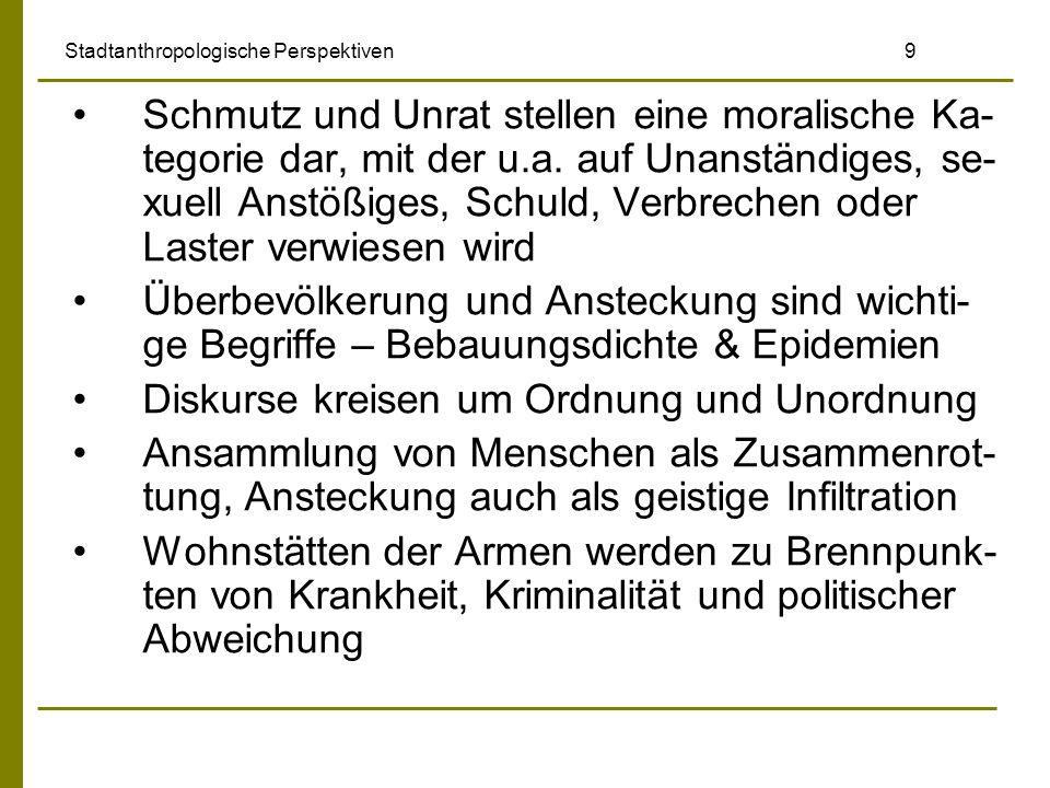 Stadtanthropologische Perspektiven 9 Schmutz und Unrat stellen eine moralische Ka- tegorie dar, mit der u.a. auf Unanständiges, se- xuell Anstößiges,