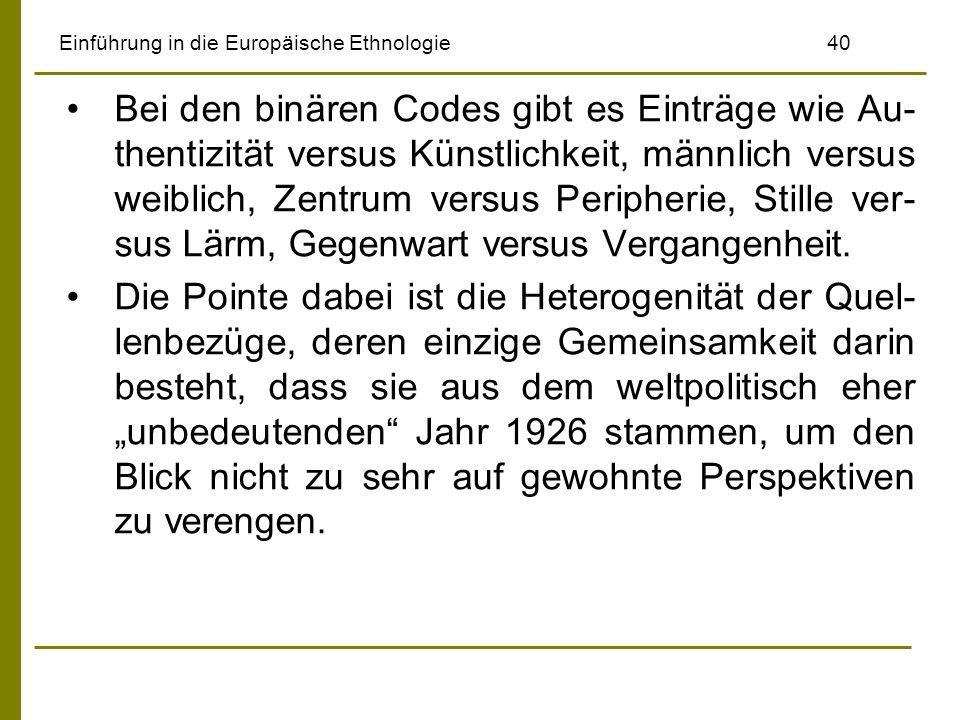 Einführung in die Europäische Ethnologie40 Bei den binären Codes gibt es Einträge wie Au- thentizität versus Künstlichkeit, männlich versus weiblich, Zentrum versus Peripherie, Stille ver- sus Lärm, Gegenwart versus Vergangenheit.