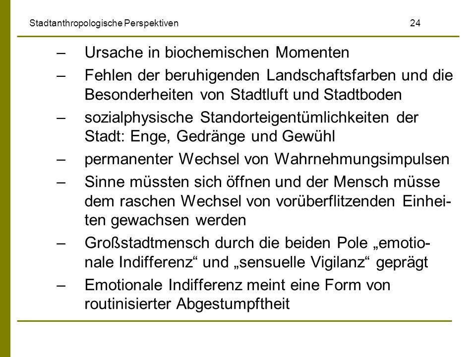 Stadtanthropologische Perspektiven 24 –Ursache in biochemischen Momenten –Fehlen der beruhigenden Landschaftsfarben und die Besonderheiten von Stadtlu