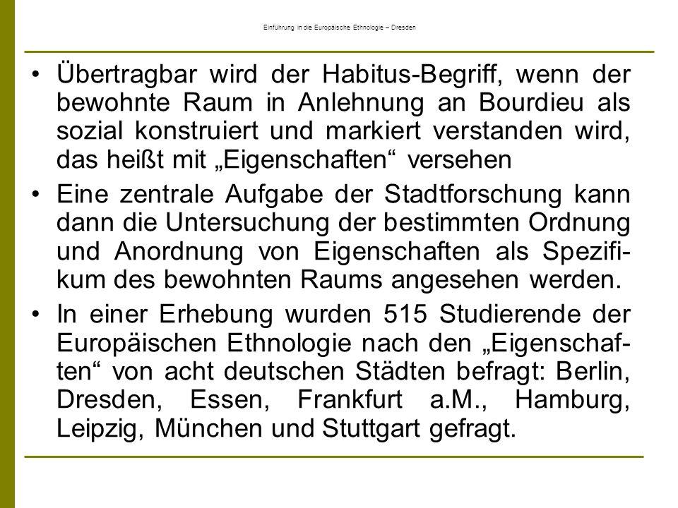 Einführung in die Europäische Ethnologie – Dresden Übertragbar wird der Habitus-Begriff, wenn der bewohnte Raum in Anlehnung an Bourdieu als sozial ko