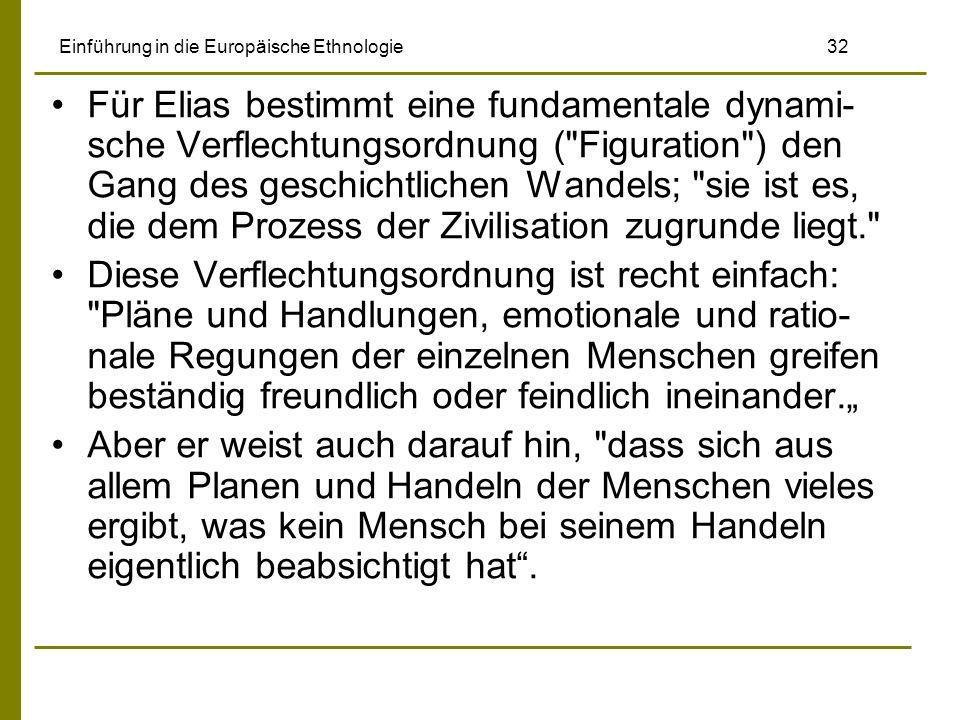 Einführung in die Europäische Ethnologie 32 Für Elias bestimmt eine fundamentale dynami- sche Verflechtungsordnung (