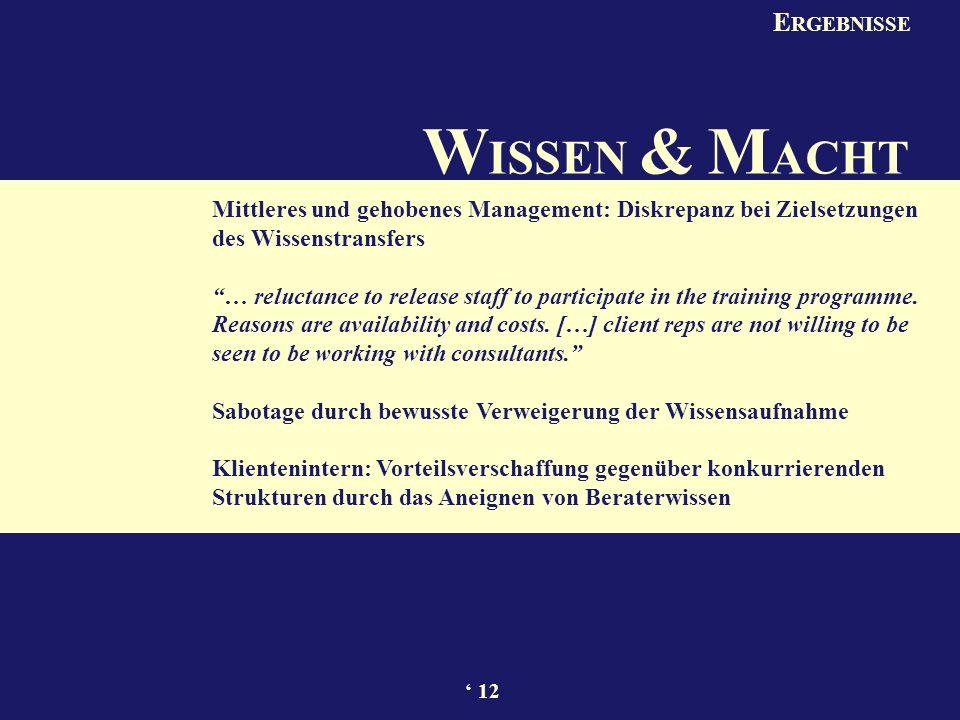 W ISSEN & M ACHT Mittleres und gehobenes Management: Diskrepanz bei Zielsetzungen des Wissenstransfers … reluctance to release staff to participate in the training programme.