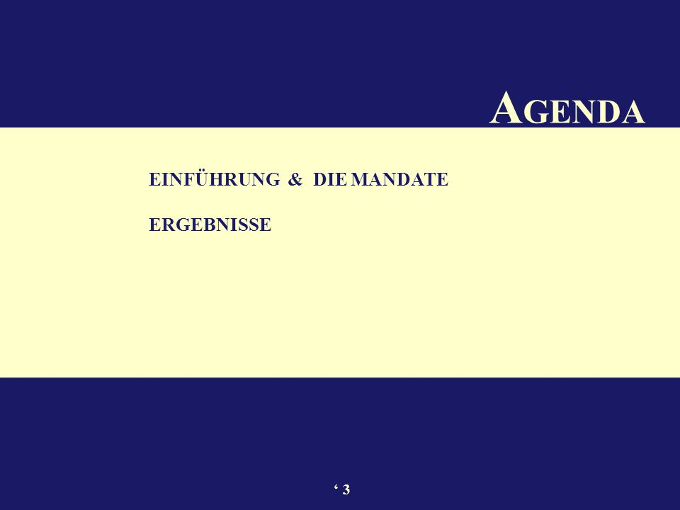 A GENDA EINFÜHRUNG & DIE MANDATE ERGEBNISSE 3