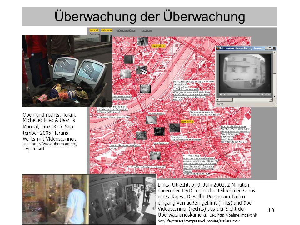 10 Überwachung der Überwachung Oben und rechts: Teran, Michelle: Life: A User´s Manual, Linz, 3.-5.