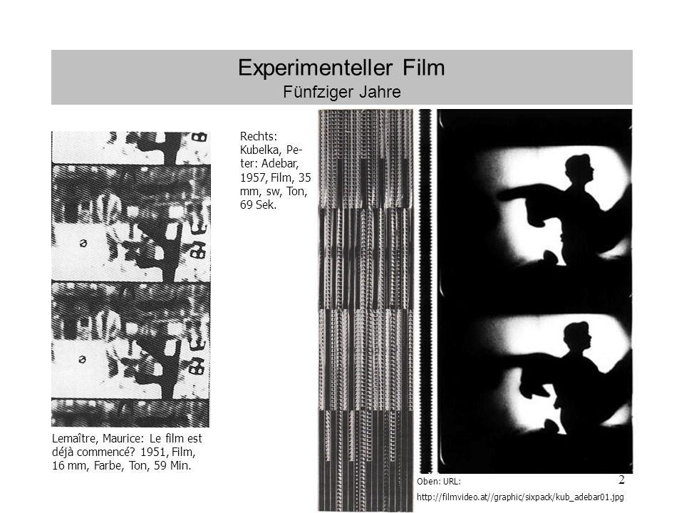 2 Experimenteller Film Fünfziger Jahre Lemaître, Maurice: Le film est déjà commencé.