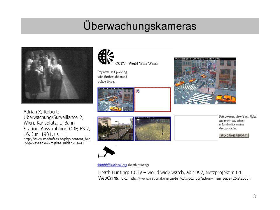 8 Überwachungskameras Adrian X, Robert: Überwachung/Surveillance 2, Wien, Karlsplatz, U-Bahn Station.
