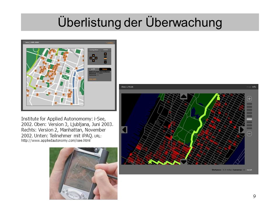 9 Überlistung der Überwachung Institute for Applied Autonomomy: i-See, 2002.