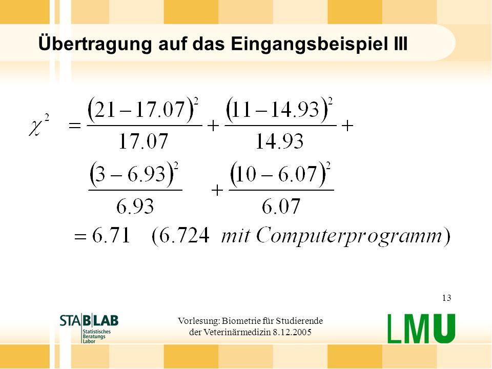 Vorlesung: Biometrie für Studierende der Veterinärmedizin 8.12.2005 13 Übertragung auf das Eingangsbeispiel III
