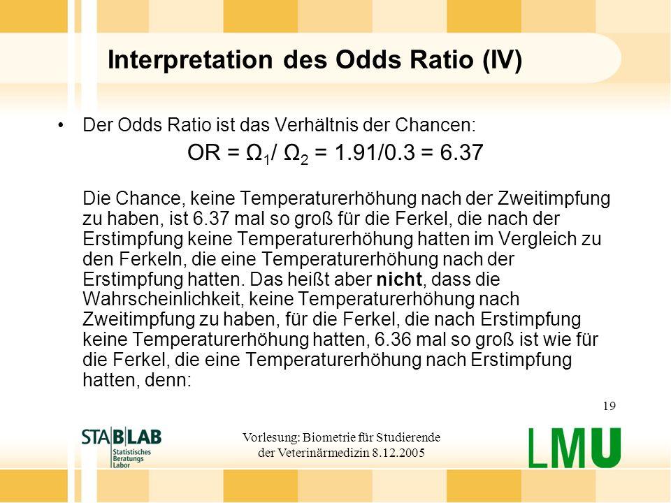 Vorlesung: Biometrie für Studierende der Veterinärmedizin 8.12.2005 19 Interpretation des Odds Ratio (IV) Der Odds Ratio ist das Verhältnis der Chancen: OR = Ω 1 / Ω 2 = 1.91/0.3 = 6.37 Die Chance, keine Temperaturerhöhung nach der Zweitimpfung zu haben, ist 6.37 mal so groß für die Ferkel, die nach der Erstimpfung keine Temperaturerhöhung hatten im Vergleich zu den Ferkeln, die eine Temperaturerhöhung nach der Erstimpfung hatten.