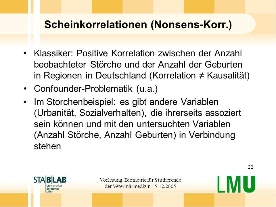 Vorlesung: Biometrie für Studierende der Veterinärmedizin 15.12.2005 22 Scheinkorrelationen (Nonsens-Korr.) Klassiker: Positive Korrelation zwischen d