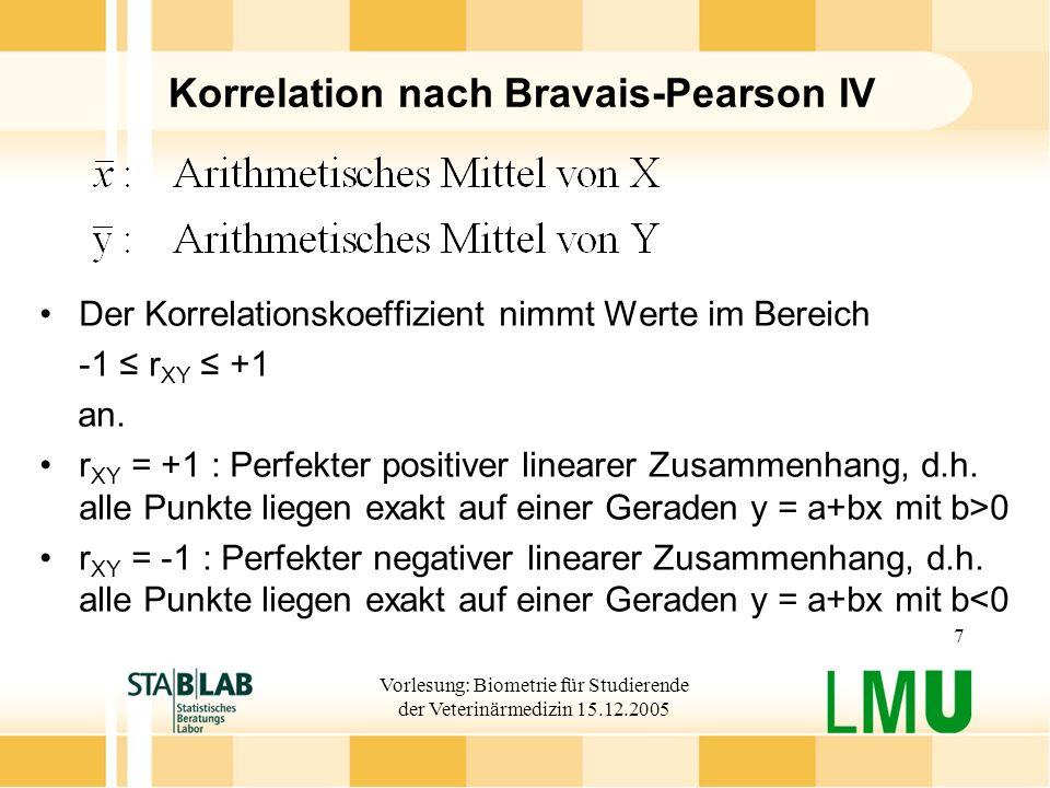 Vorlesung: Biometrie für Studierende der Veterinärmedizin 15.12.2005 8 Korrelation nach Bravais-Pearson V r XY =0: Die Merkmale sind linear unabhängig Hypothetische Datenbeispiele zur Veranschaulichung