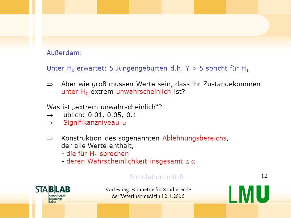 Vorlesung: Biometrie für Studierende der Veterinärmedizin 12.1.2006 12 Außerdem: Unter H 0 erwartet: 5 Jungengeburten d.h.