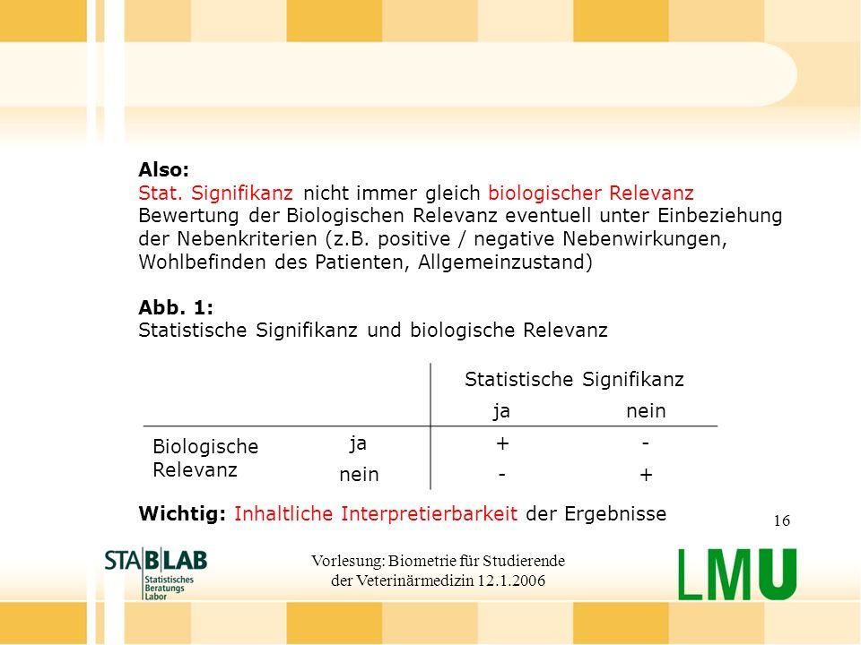 Vorlesung: Biometrie für Studierende der Veterinärmedizin 12.1.2006 16 Also: Stat.