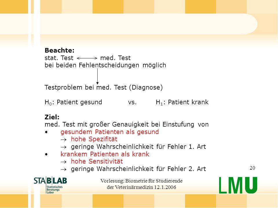 Vorlesung: Biometrie für Studierende der Veterinärmedizin 12.1.2006 20 Beachte: stat.