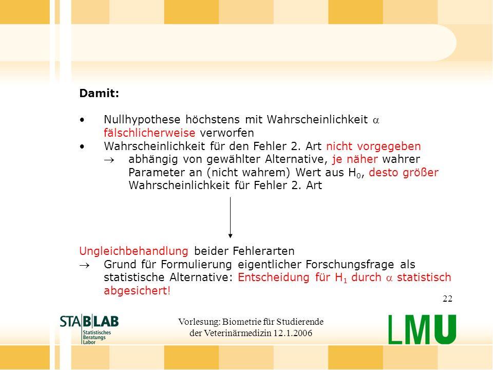 Vorlesung: Biometrie für Studierende der Veterinärmedizin 12.1.2006 22 Damit: Nullhypothese höchstens mit Wahrscheinlichkeit fälschlicherweise verworfen Wahrscheinlichkeit für den Fehler 2.