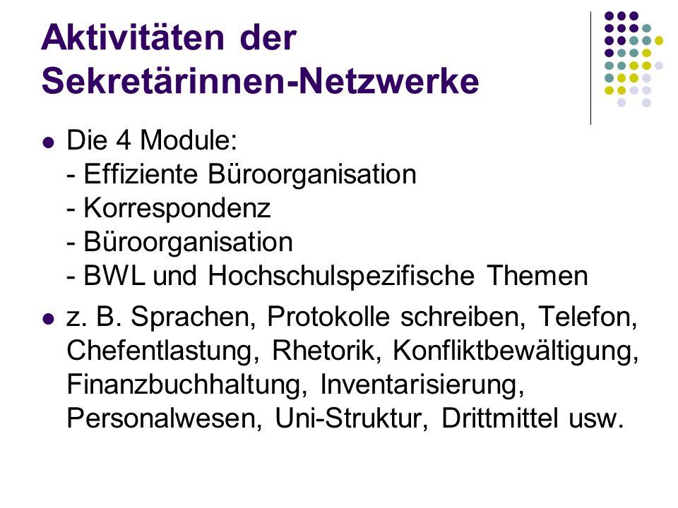 Aktivitäten der Sekretärinnen-Netzwerke Die 4 Module: - Effiziente Büroorganisation - Korrespondenz - Büroorganisation - BWL und Hochschulspezifische Themen z.