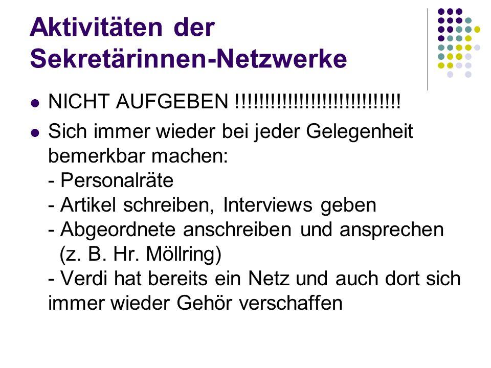Aktivitäten der Sekretärinnen-Netzwerke NICHT AUFGEBEN !!!!!!!!!!!!!!!!!!!!!!!!!!!!.