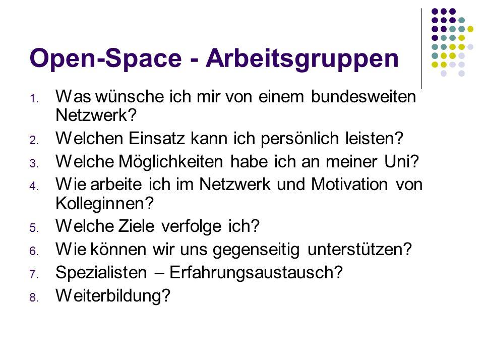 Open-Space - Arbeitsgruppen 1.Was wünsche ich mir von einem bundesweiten Netzwerk.