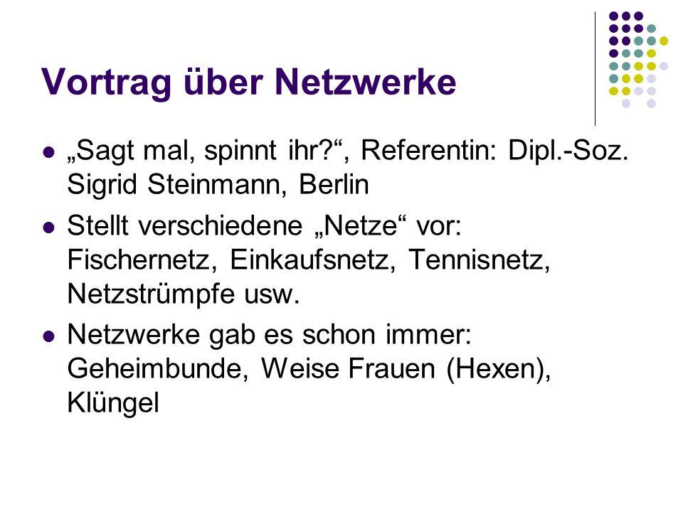 Vortrag über Netzwerke Sagt mal, spinnt ihr?, Referentin: Dipl.-Soz.