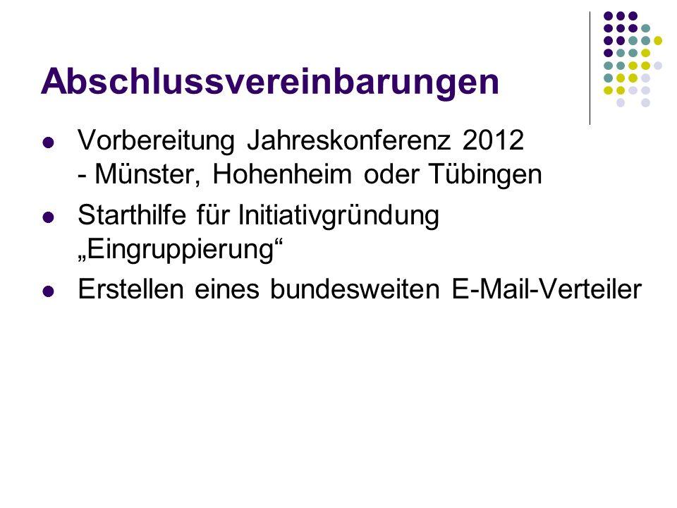 Abschlussvereinbarungen Vorbereitung Jahreskonferenz 2012 - Münster, Hohenheim oder Tübingen Starthilfe für Initiativgründung Eingruppierung Erstellen eines bundesweiten E-Mail-Verteiler