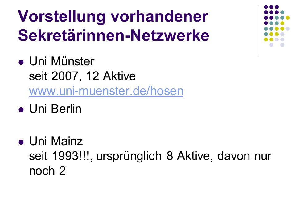 Vorstellung vorhandener Sekretärinnen-Netzwerke Uni Münster seit 2007, 12 Aktive www.uni-muenster.de/hosen www.uni-muenster.de/hosen Uni Berlin Uni Mainz seit 1993!!!, ursprünglich 8 Aktive, davon nur noch 2