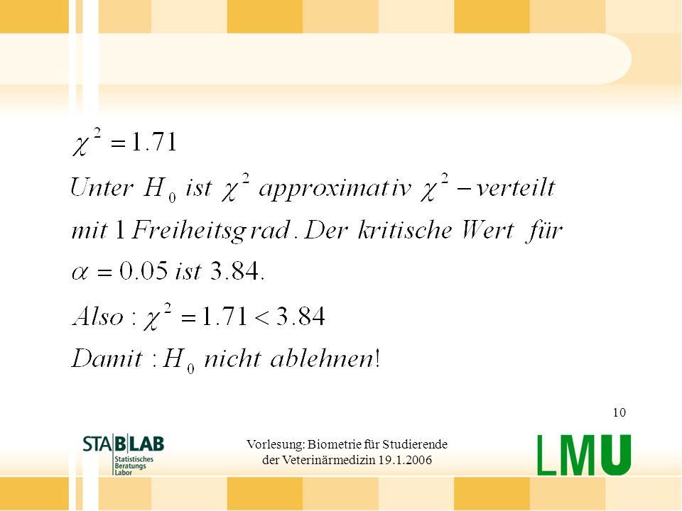 Vorlesung: Biometrie für Studierende der Veterinärmedizin 19.1.2006 10