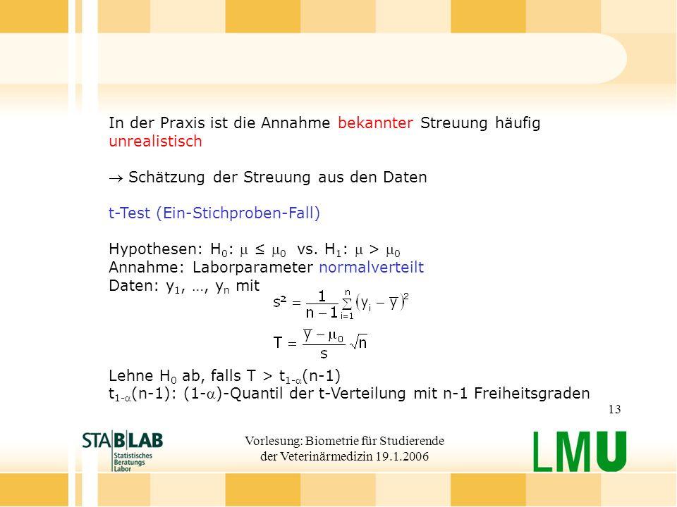 Vorlesung: Biometrie für Studierende der Veterinärmedizin 19.1.2006 13 In der Praxis ist die Annahme bekannter Streuung häufig unrealistisch Schätzung der Streuung aus den Daten t-Test (Ein-Stichproben-Fall) Hypothesen: H 0 : 0 vs.
