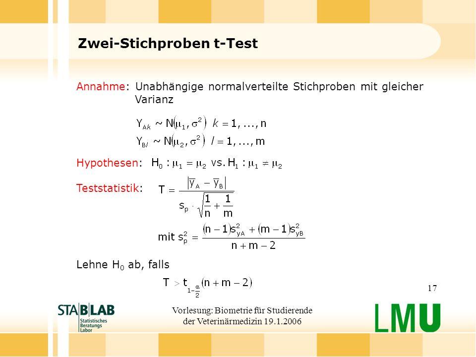 Vorlesung: Biometrie für Studierende der Veterinärmedizin 19.1.2006 17 Zwei-Stichproben t-Test Annahme: Unabhängige normalverteilte Stichproben mit gleicher Varianz Hypothesen: Teststatistik: Lehne H 0 ab, falls