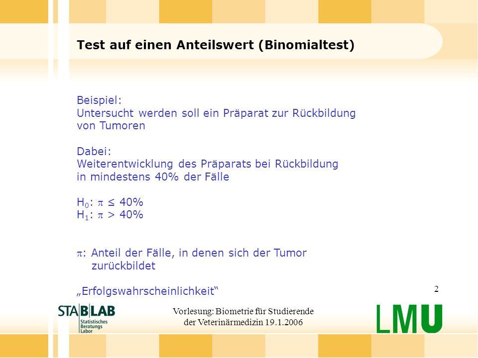 Vorlesung: Biometrie für Studierende der Veterinärmedizin 19.1.2006 2 Test auf einen Anteilswert (Binomialtest) Beispiel: Untersucht werden soll ein P