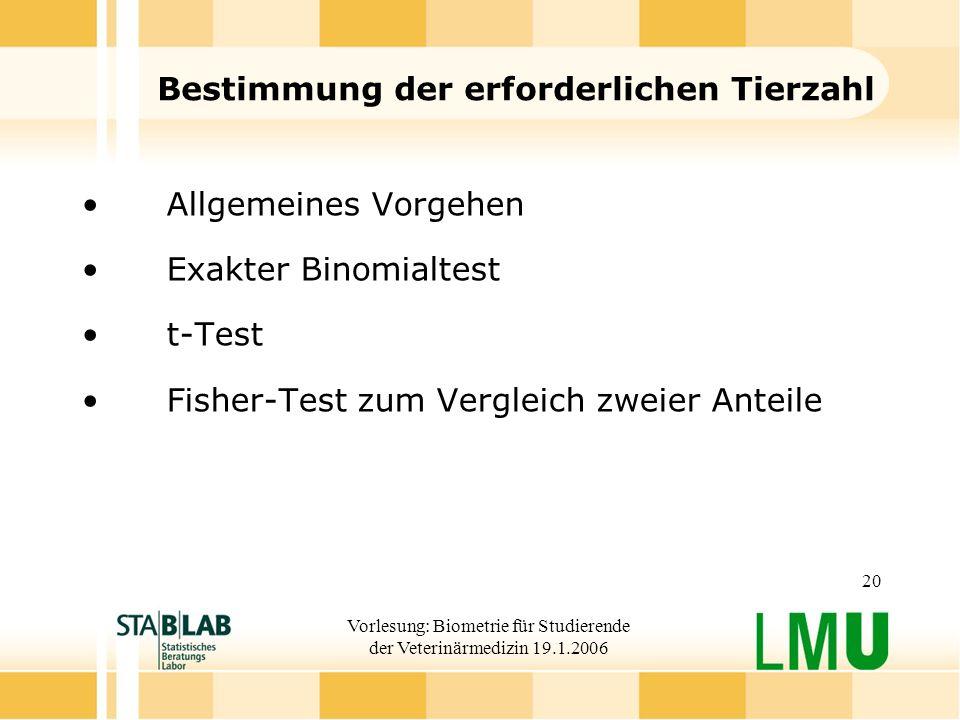 Vorlesung: Biometrie für Studierende der Veterinärmedizin 19.1.2006 20 Bestimmung der erforderlichen Tierzahl Allgemeines Vorgehen Exakter Binomialtest t-Test Fisher-Test zum Vergleich zweier Anteile