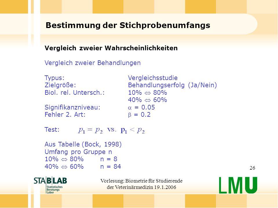 Vorlesung: Biometrie für Studierende der Veterinärmedizin 19.1.2006 26 Bestimmung der Stichprobenumfangs Vergleich zweier Wahrscheinlichkeiten Verglei
