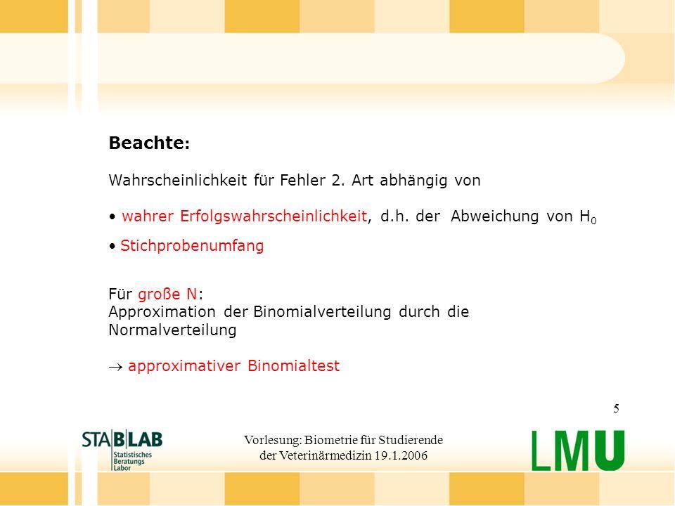 Vorlesung: Biometrie für Studierende der Veterinärmedizin 19.1.2006 5 Beachte : Wahrscheinlichkeit für Fehler 2. Art abhängig von wahrer Erfolgswahrsc