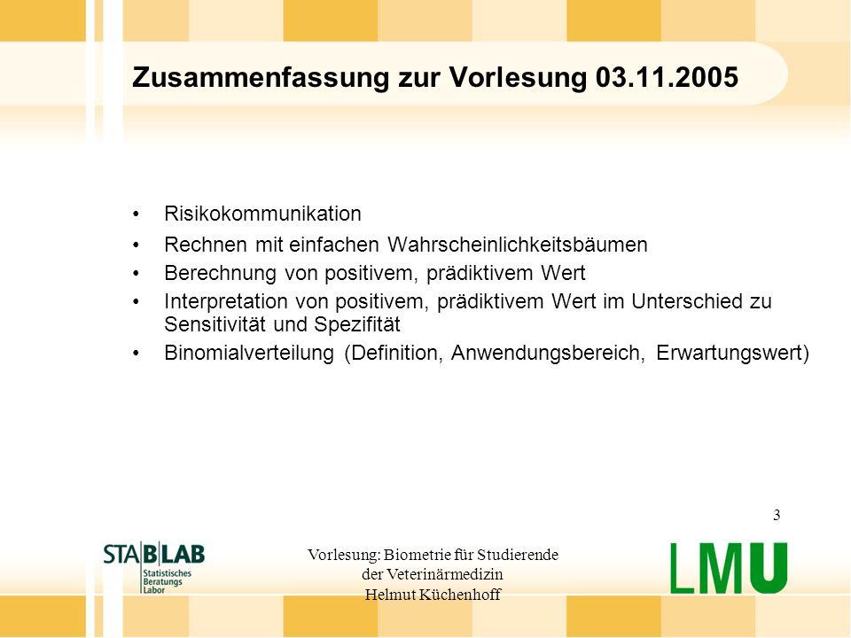 Vorlesung: Biometrie für Studierende der Veterinärmedizin Helmut Küchenhoff 3 Zusammenfassung zur Vorlesung 03.11.2005 Risikokommunikation Rechnen mit