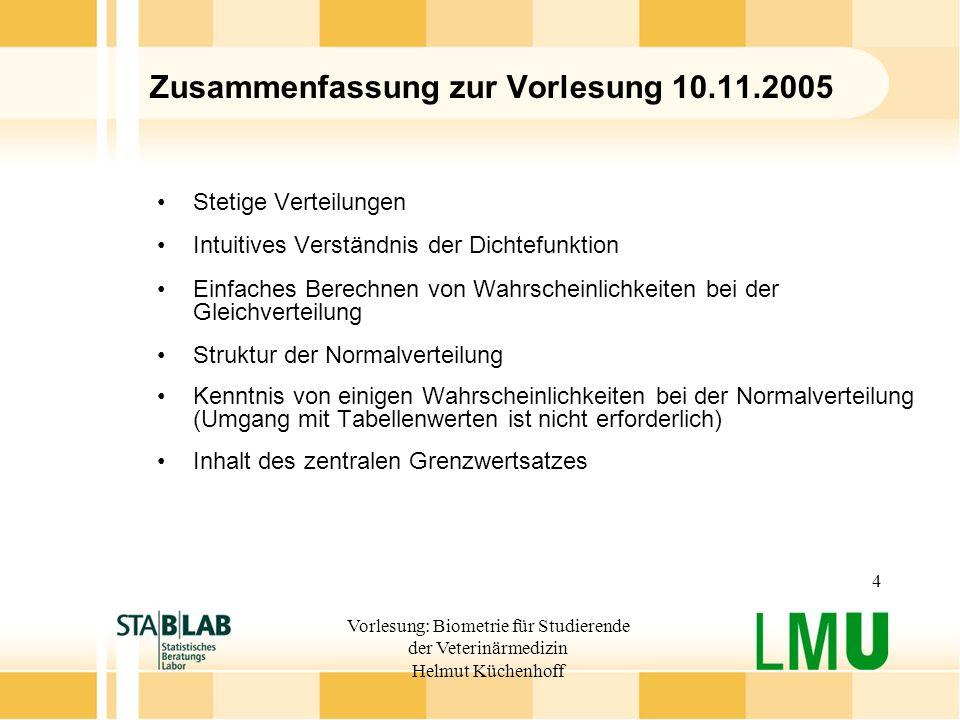 Vorlesung: Biometrie für Studierende der Veterinärmedizin Helmut Küchenhoff 4 Zusammenfassung zur Vorlesung 10.11.2005 Stetige Verteilungen Intuitives