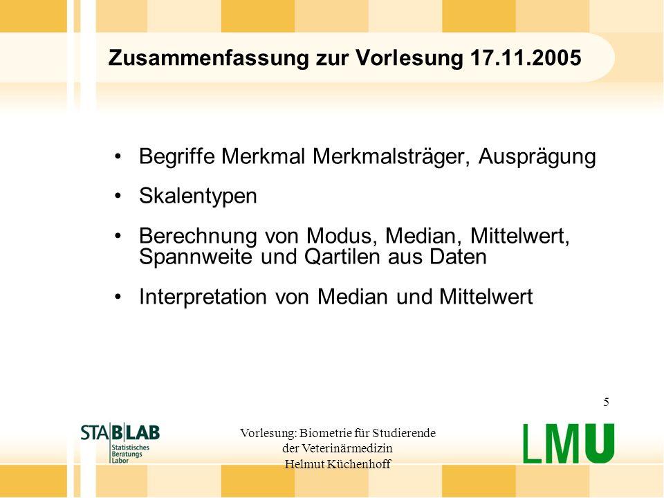 Vorlesung: Biometrie für Studierende der Veterinärmedizin Helmut Küchenhoff 5 Zusammenfassung zur Vorlesung 17.11.2005 Begriffe Merkmal Merkmalsträger
