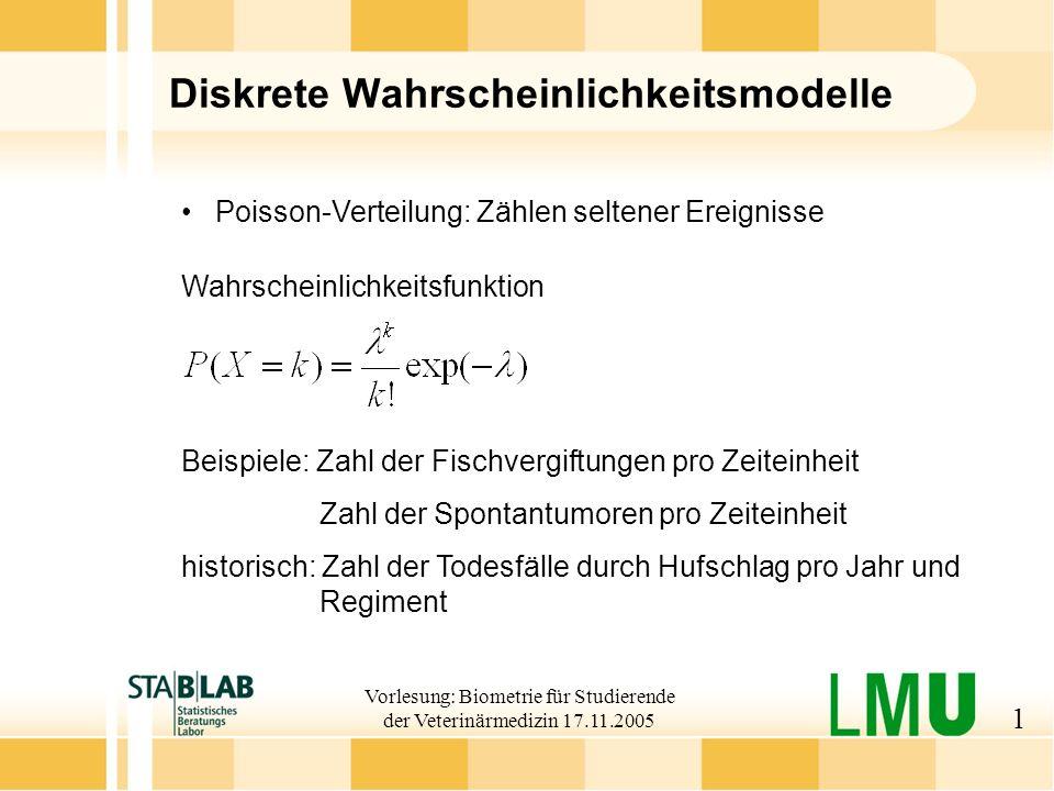 Vorlesung: Biometrie für Studierende der Veterinärmedizin 17.11.2005 2 Beispiel für Possion-Verteilung Wahrscheinlichkeitsfunktion