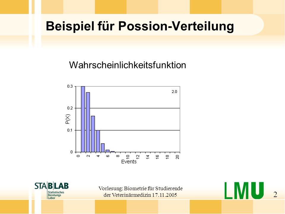 Vorlesung: Biometrie für Studierende der Veterinärmedizin 17.11.2005 3 Lebensdauerverteilungen Beispiel: Lebensdauern Exponentialverteilung