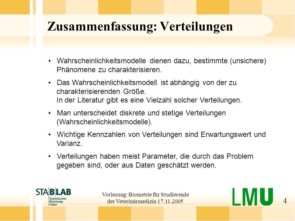 Vorlesung: Biometrie für Studierende der Veterinärmedizin 17.11.2005 5 Statistische Erhebungen Befragungen z.B.