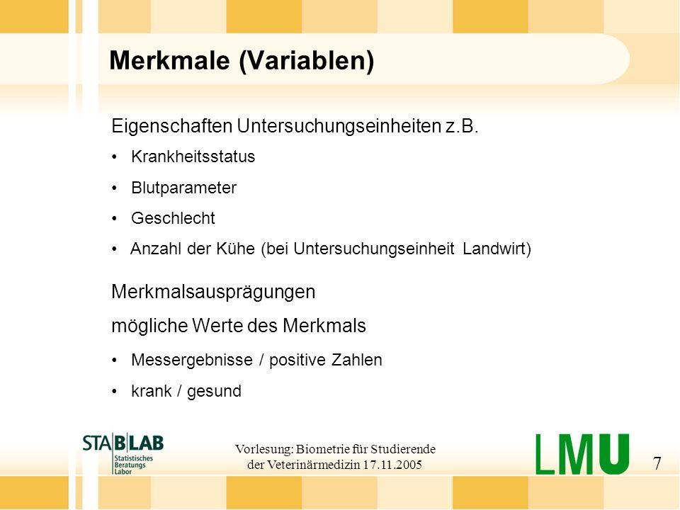 Vorlesung: Biometrie für Studierende der Veterinärmedizin 17.11.2005 28 Standardabweichung Definition: Mittlere Abweichung vom Mittelwert Manchmal auch 1/n statt 1/(n-1) Intervallskala Voraussetzung