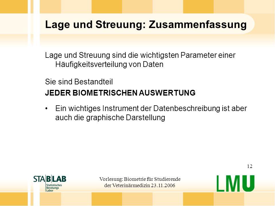 Vorlesung: Biometrie für Studierende der Veterinärmedizin 23.11.2006 12 Lage und Streuung: Zusammenfassung Lage und Streuung sind die wichtigsten Para
