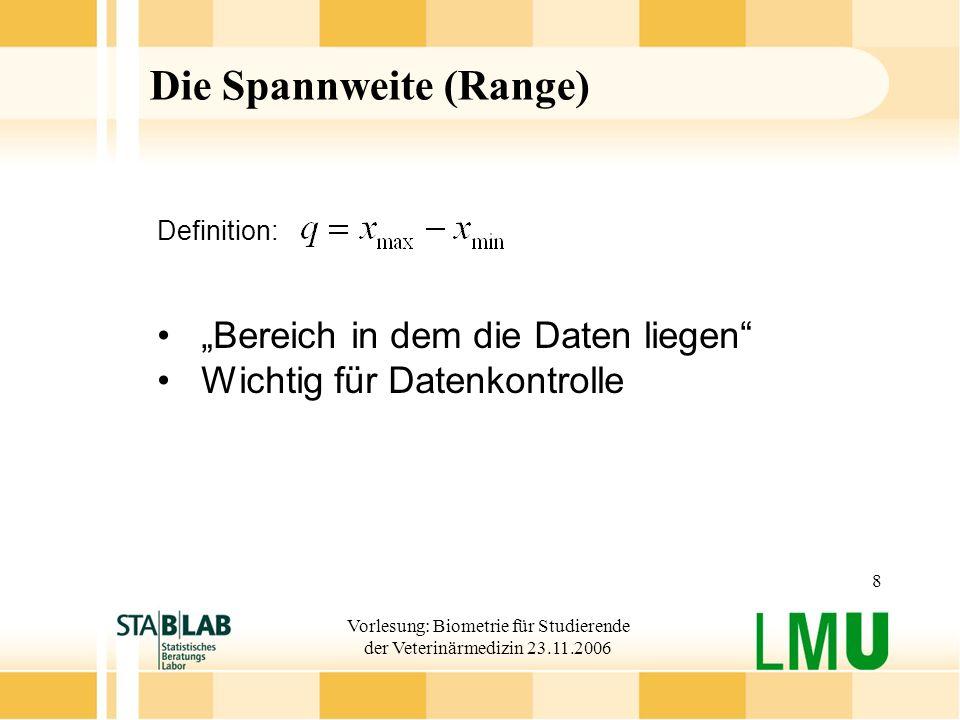 Vorlesung: Biometrie für Studierende der Veterinärmedizin 23.11.2006 8 Die Spannweite (Range) Definition: Bereich in dem die Daten liegen Wichtig für